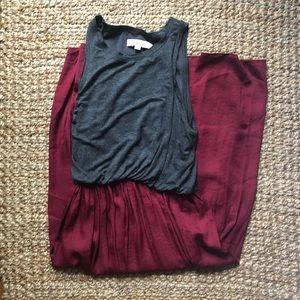Loft Grey/Burgundy Midi Dress (size s)